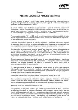 RESISTIR E LUTAR POR UM PORTUGAL COM FUTURO - CGTP-IN