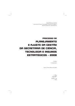 Processo de planejamento e ajuste da gestão da Secretaria de