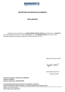 SECRETARIA DE REGISTRO ACADÊMICO DECLARAÇÃO