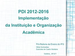 Apresentação do PDI 2012/2016
