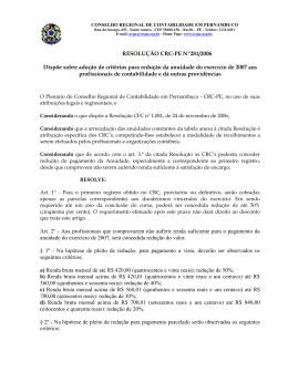 Redução de Anuidade 2007 - CRC-PE