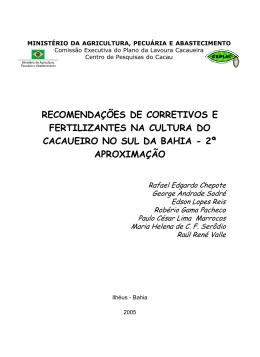 Recomendações de Corretivas e Fertilizantes