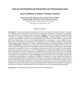 Uso de softwares em pesquisas de fonoaudiologia