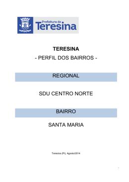 TERESINA - PERFIL DOS BAIRROS - REGIONAL SDU
