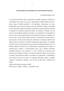 O TRABALHO DE MULHERES EM COMUNIDADES RURAIS Ana