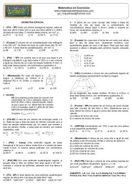 1 - (ITA – SP) Dado um prisma hexagonal regular, sabe