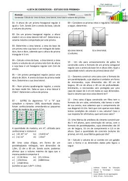 01- A altura de um prisma hexagonal regular é igual