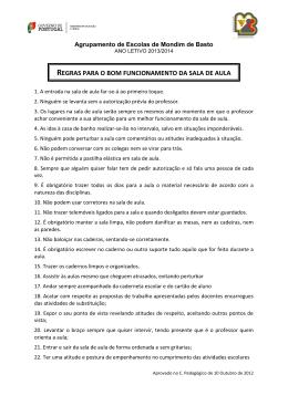 regras para o bom funcionamento da sala de aula