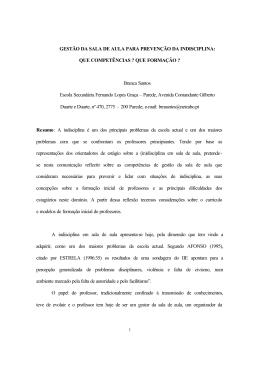 GESTÃO DA SALA DE AULA PARA PREVENÇÃO DA INDISCIPLINA