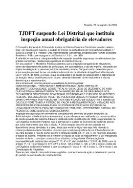 TJDFT suspende Lei Distrital que instituiu inspeção anual