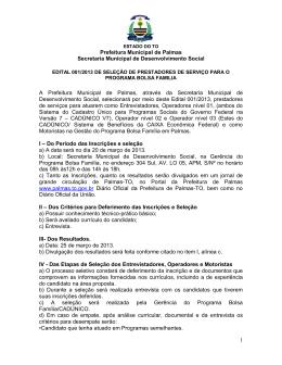 Prefeitura Municipal de Palmas Secretaria Municipal de