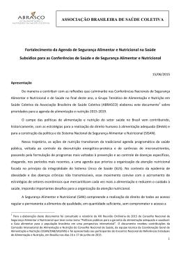 ASSOCIAÇÃO BRASILEIRA DE SAÚDE COLETIVA Fortalecimento