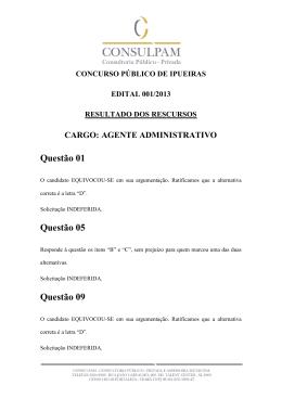 recurso prova objetiva- agente administrativo