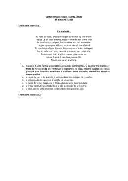 Compreensão Textual – Santa Úrsula 4º Bimestre – 2014 Texto