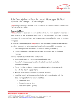 Job Description – Key Account Manager JAPAN