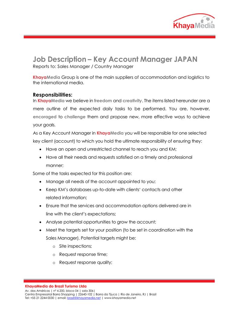 Job Description Key Account Manager Japan