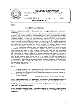 ATIVIDADE No. 01 PARA A TURMA 231 PORTUGUÊS