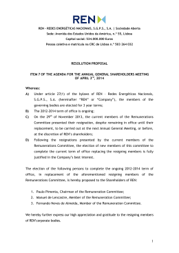 RESOLUTION PROPOSAL ITEM 7 OF THE AGENDA FOR