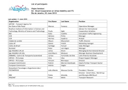 List of participants Viajeo Seminar: EU – Brazil Cooperation on