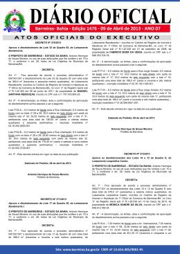 Diário Oficial – Edição 1476 - Prefeitura de Barreiras