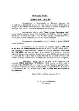 Baixar - Câmara Municipal de Vereadores de Selbach