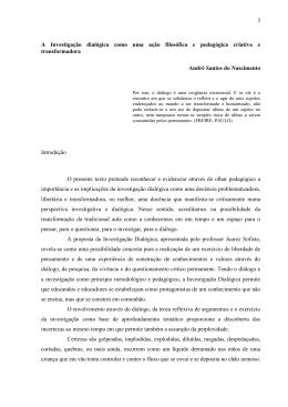 A Investigação dialógica como uma ação filosófica e