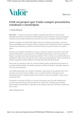 OAB vai propor que União compre precatórios estaduais e municipais
