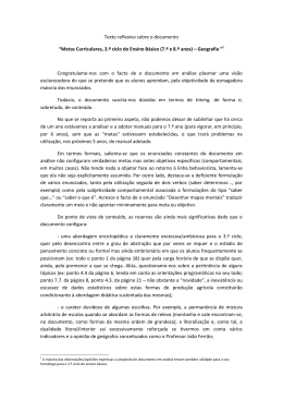 """Texto reflexivo sobre o documento """"Metas Curriculares, 3.º ciclo do"""
