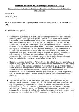 Comentários IBGC sobre Programa de Governança em Estatais