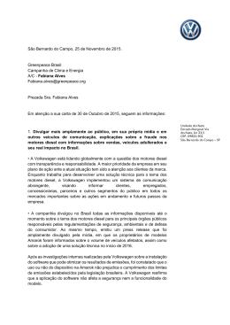 São Bernardo do Campo, 25 de Novembro de 2015. Greenpeace