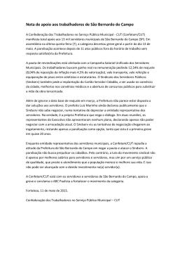 Nota de apoio aos trabalhadores de São Bernardo do Campo