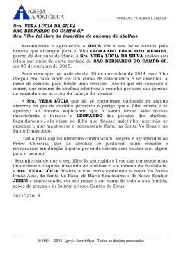 Sra. VERA LÚCIA DA SILVA SÃO BERNARDO