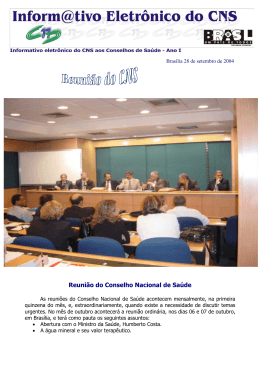 Reunião do Conselho Nacional de Saúde