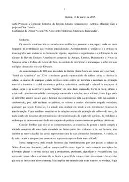 1 Belém, 15 de março de 2015. Carta Proposta à Comissão