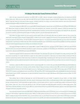A Evolução Recente das Contas Externas do Brasil