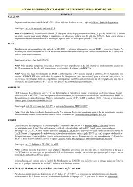 JUNHO DE 2015 05/06/2015 SALÁRIOS Pagamento de salários