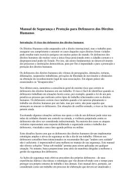 Manual de Segurança e Proteção para Defensores dos