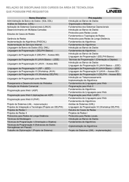 relação de disciplinas dos cursos da área de tecnologia que