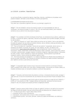 Lei 13.541/09 - Lei antifumo - Estado São Paulo Lei anti fumo