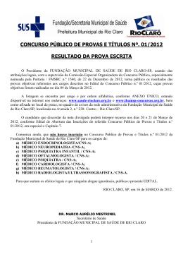 Edital de notas - Fundação Municipal da Saúde de Rio Claro