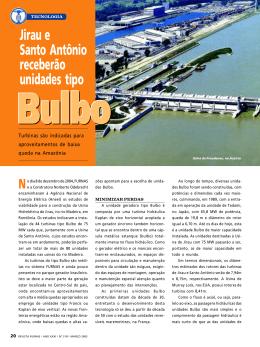 Jirau e Santo Antônio receberão unidades tipo Bulbo