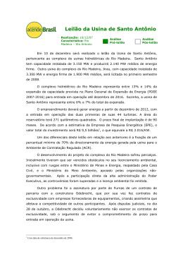 Leilão da Usina de Santo Antônio