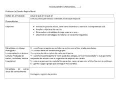 PLANEJAMENTO (PARLENDAS, .......) Professor (a):Sandra Regina