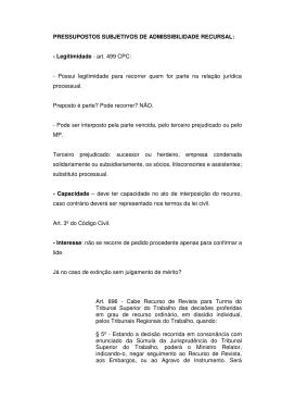 PRESSUPOSTOS SUBJETIVOS DE ADMISSIBILIDADE