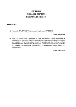 FMP 2015/16 PADRÃO DE RESPOSTA DISCURSIVA DE BIOLOGIA