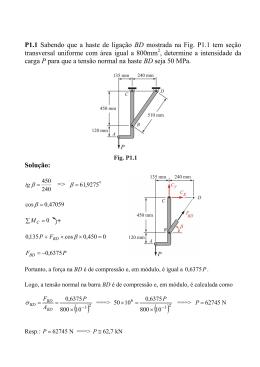 P1.1 Sabendo que a haste de ligação BD mostrada na Fig. P1.1 tem