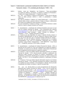 Seção 11 - Cadastramento e permanente atualização dos dados
