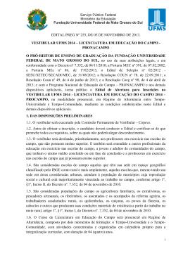 Vestibular UFMS PronaCampo 2014 - Copeve