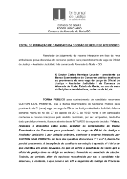 ESTADO DE GOIÁS PODER JUDICIÁRIO Comarca de Alvorada do