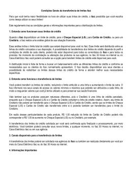 Condições Gerais da transferência de limites Itaú Para que você